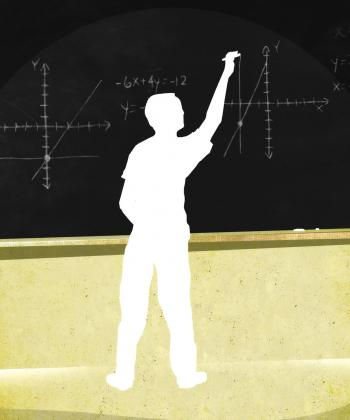 Silhouette of boy writing on chalkboard - Teaching Tolerance illustration