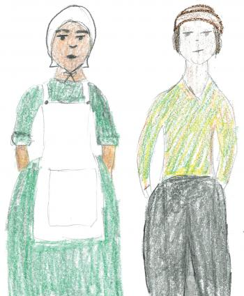 Children's drawings of pilgrims as they imagine them