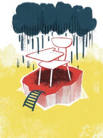 Illustration of a school desk on a lone island under a dark rain cloud.