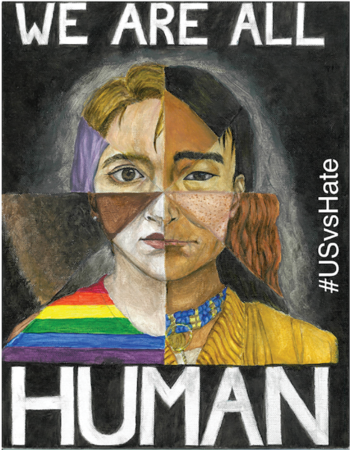 "Illustration of a diverse group of people split into various segments, showing all their faces. The words ""We Are All Human"" frame the illustration."