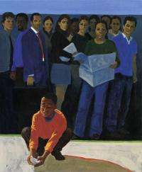 "An illustration that depicts Marian Anderson's quote ""There are many persons ready to do what is right because in their hearts they know it is right. But they hesitate, waiting for the other fellow to make the first move — and he, in turn, waits for you."""