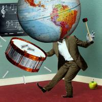 Teaching Tolerance illustration of a person with a World Globe as head playing drum in a classroom