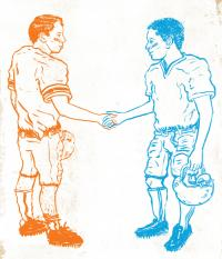 blue and orange football players shaking hands