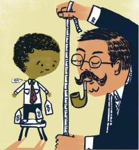 Teaching Tolerance illustration of an adult measuring a child with price tags over his clothes