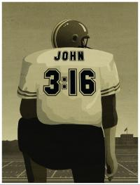 Teaching Tolerance illustration of Football player with John 3:16 in the back of the jersey