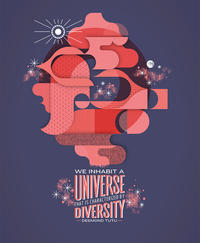 "An illustration that depicts Desmond Tutu's quote ""We inhabit a universe that is characterized by diversity."""