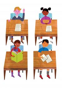 Illustration of four students sitting at their desks