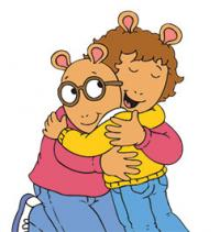 Arthur hugs his mom