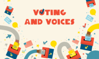 Voting and Voices illustration with hands and ballot boxes.