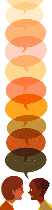 Illustration of two people having a conversation with various multi-colored speech bubbles extending out in a line above them.