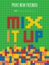 "Colorful Lego bricks built to say ""Mix It Up."""